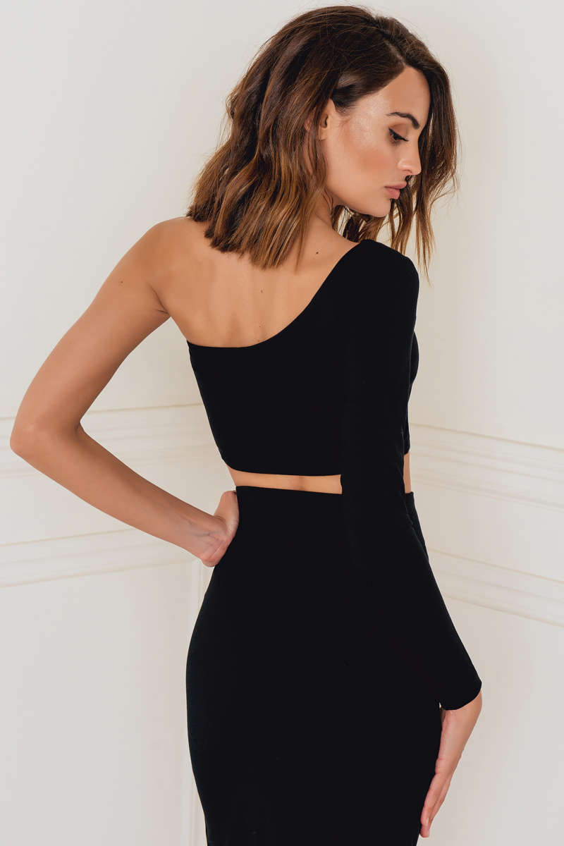 Rebecca Stella One Shoulder Sleeve Top Black