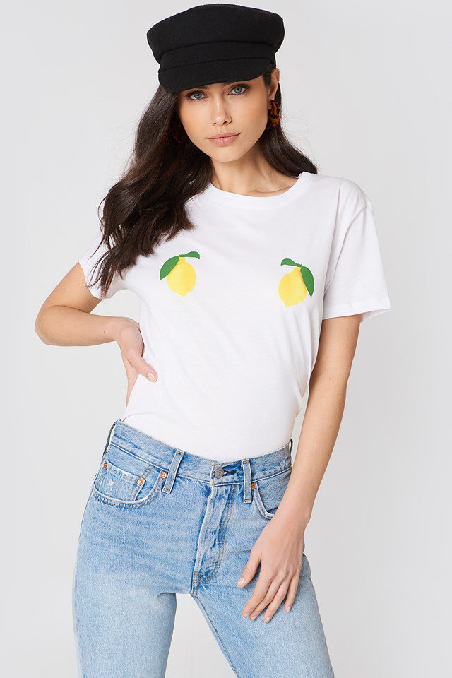 NA-KD Lemon Tee White - Mojo Independent Store