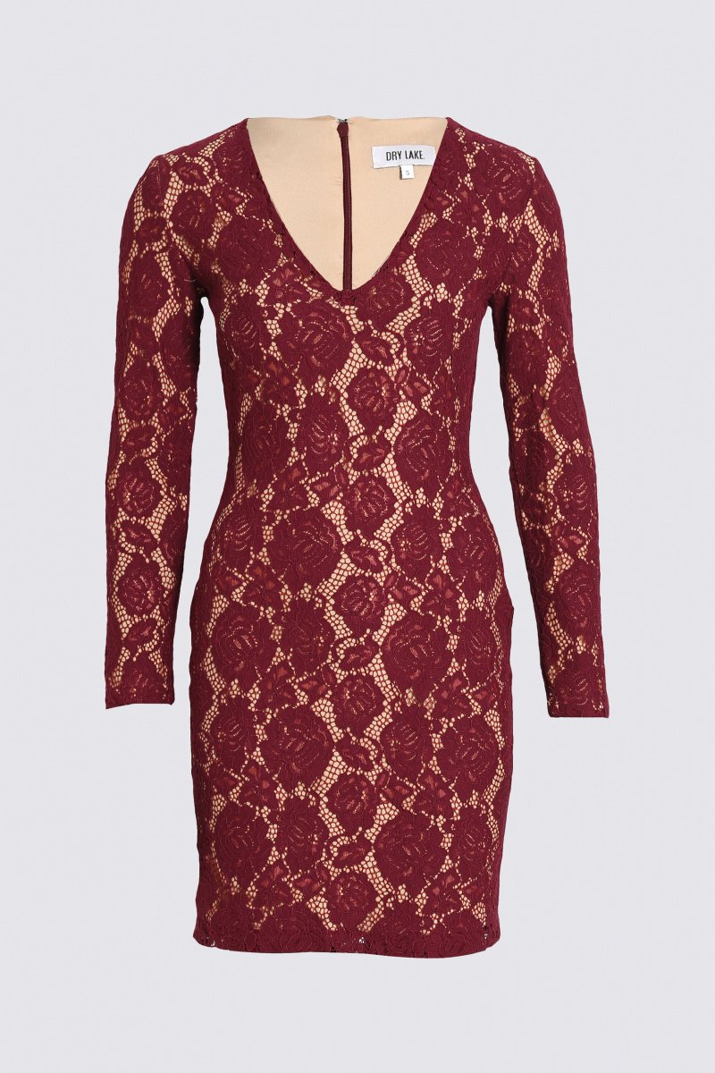 Dry Lake Mythology Dress Burgundy Lace - Mojo Independent Store