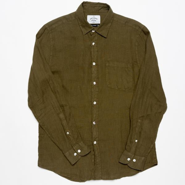 Portuguese Flannel Linen LS Olive - Mojo Independent Store