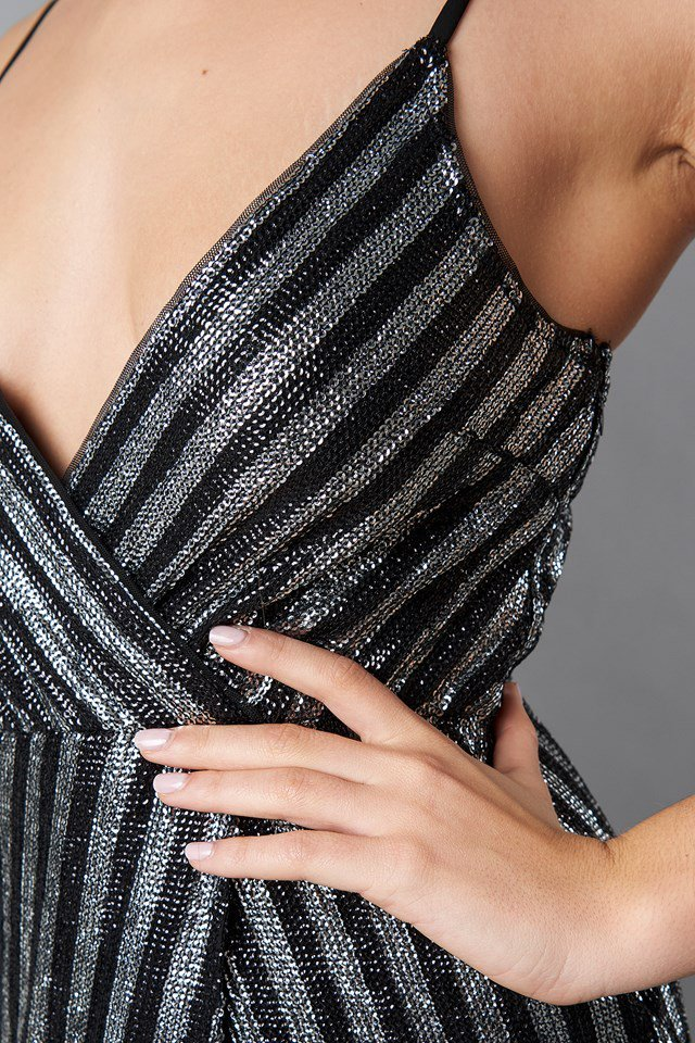 NA-KD Wrap Over Striped Sequins Dress Black NA-KD Party, Black - Mojo Independent Store