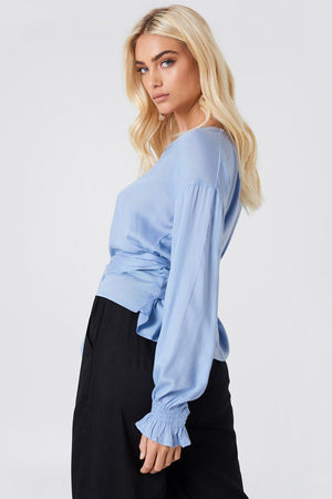 NA-KD Tied Waist Blouse Blue - Mojo Independent Store