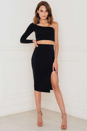 Rebecca Stella Slit Skirt Black - Mojo Independent Store