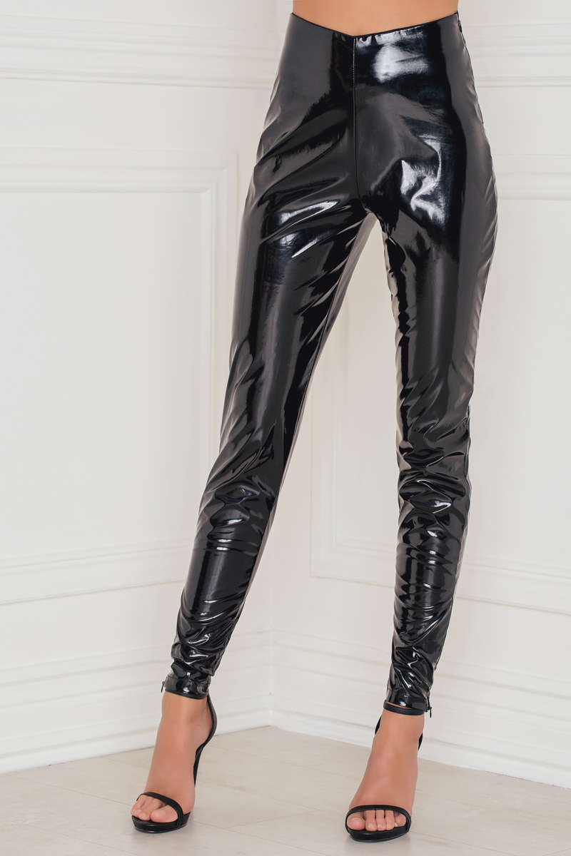 Rebecca Stella Patent Skinny Trousers Black - Mojo Independent Store