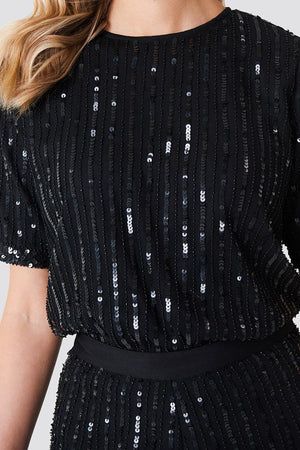 NA-KD Sequinis Top Black - Mojo Independent Store