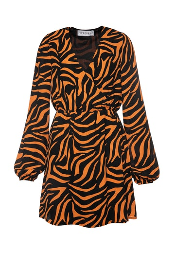 Ivyrevel Ballon Sleeve Dress Black/Orange Zebra