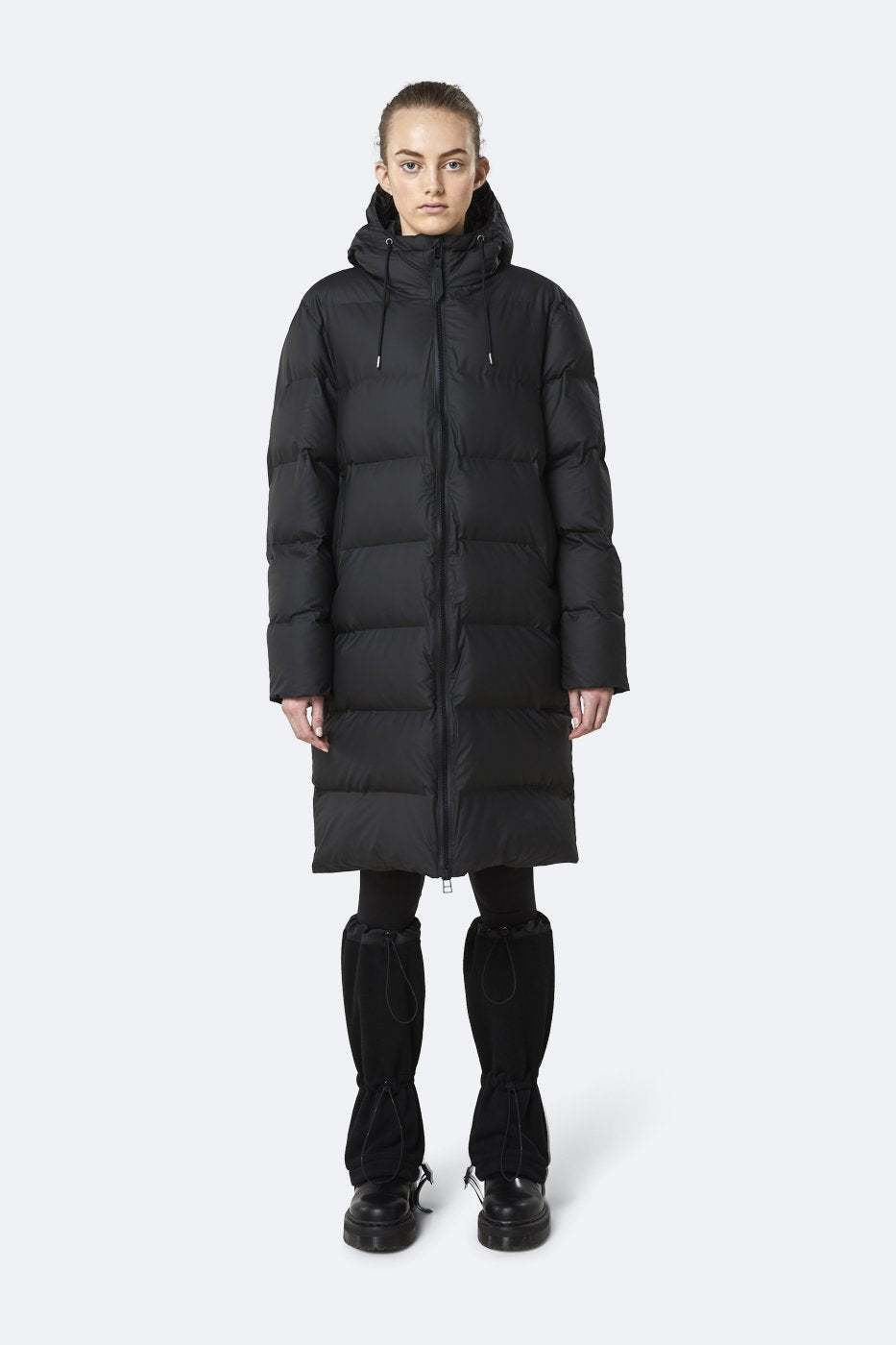 Rains Long Puffer Jacket Black