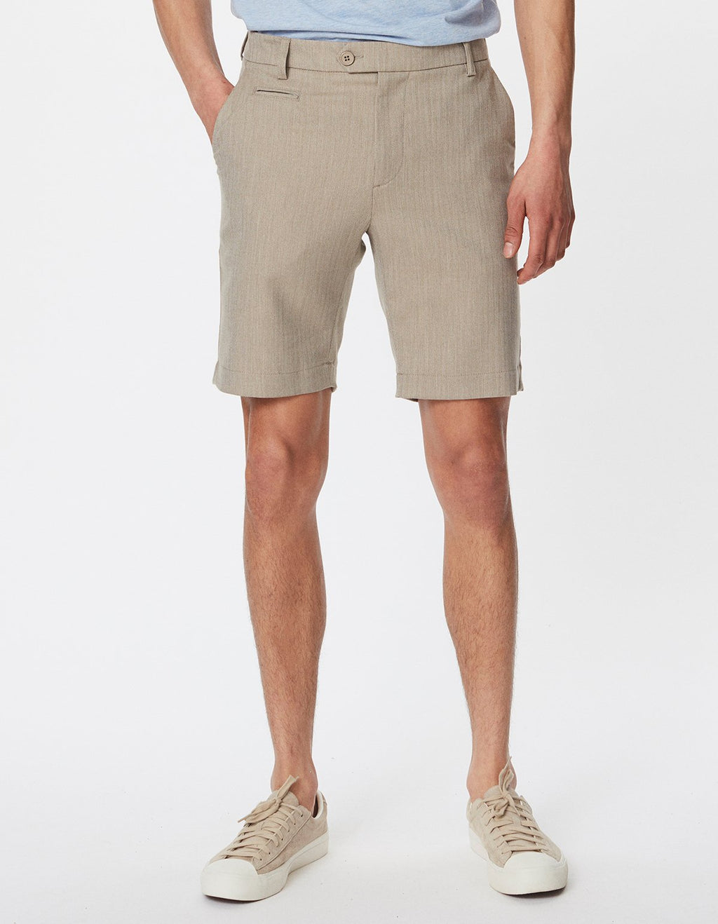 Les Deux Como Light Herringbone Shorts Light Brown Insence/Off White - Mojo Independent Store