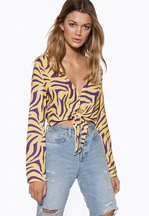 Ivyrevel Tie Front Top Yellow/purple - Mojo Independent Store
