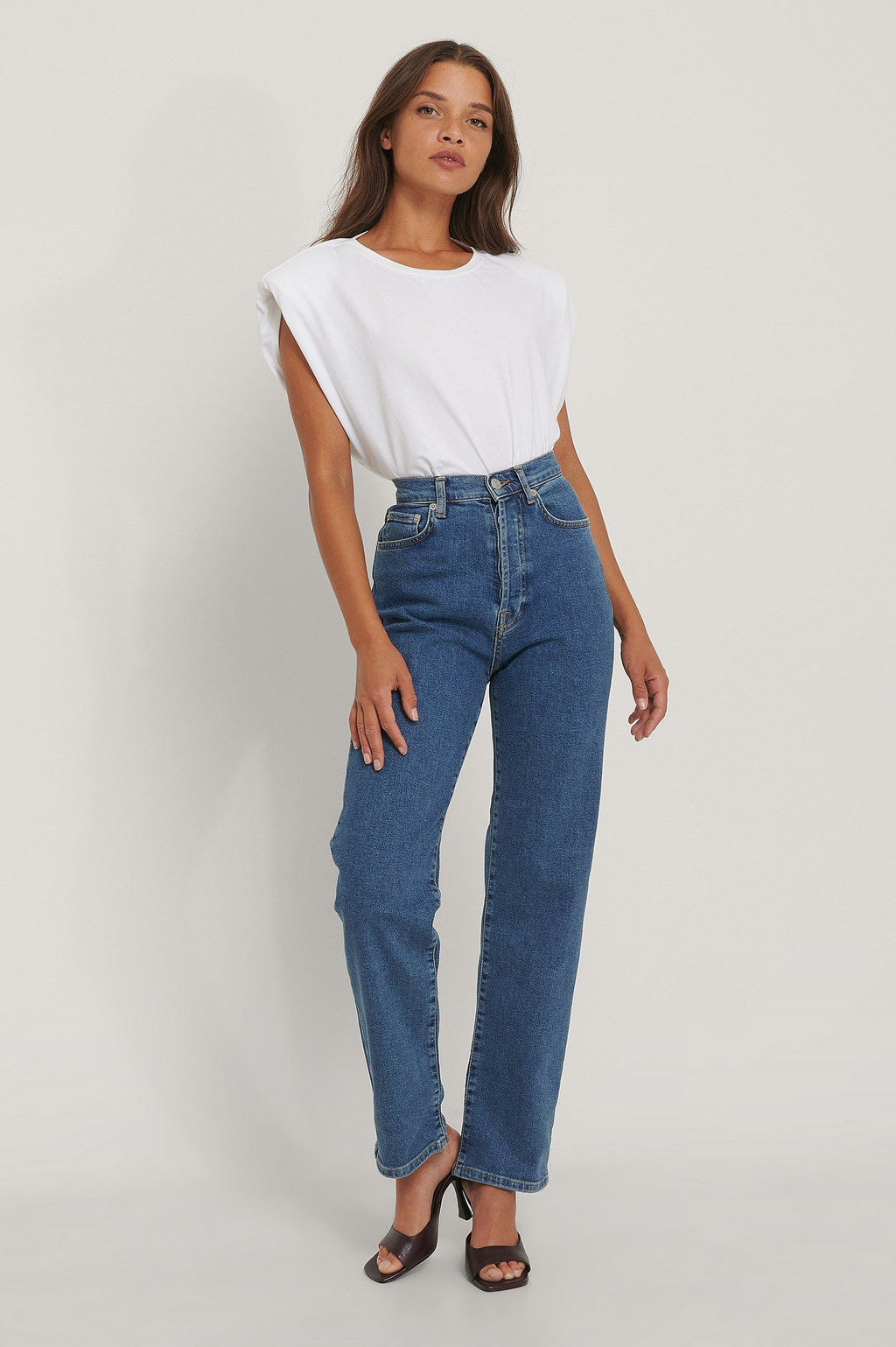 NA-KD Straight High Waist Jeans Blue