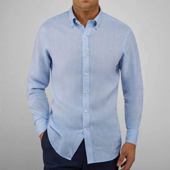John Henric San Francisco Light Blue Linen Shirt