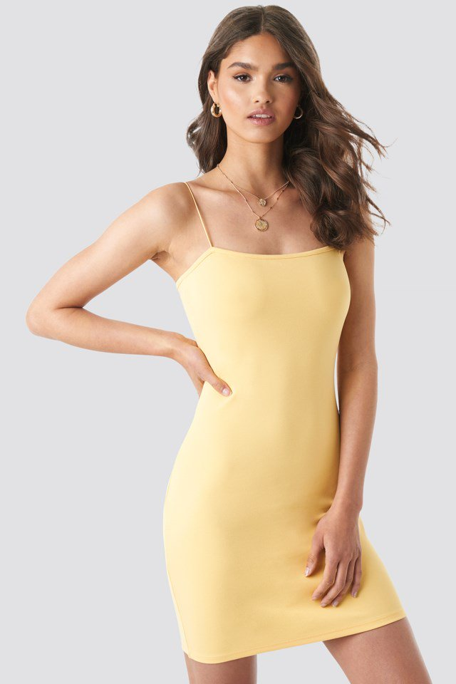 NA-KD Basic Bodycon Dress Gul
