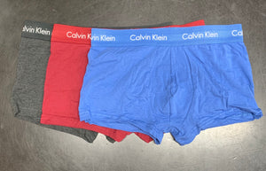 Calvin Klein 3 pack Low Rise Trunks Grey/Red/Blue - Mojo Independent Store