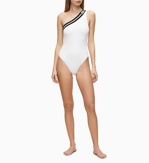 Calvin Klein Cheeky Oneshoulder One Piece PVH Classic White - Mojo Independent Store