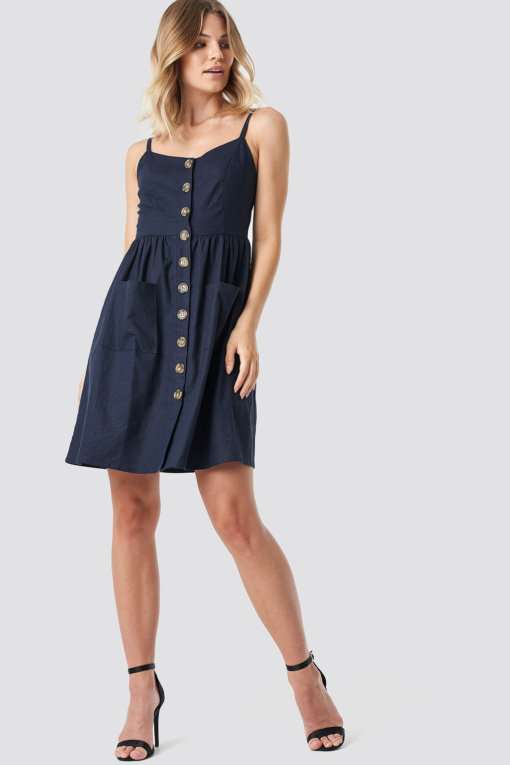NA-KD Linen Look Dress Dark Navy