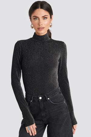 NA-KD glittery polo top black - Mojo Independent Store