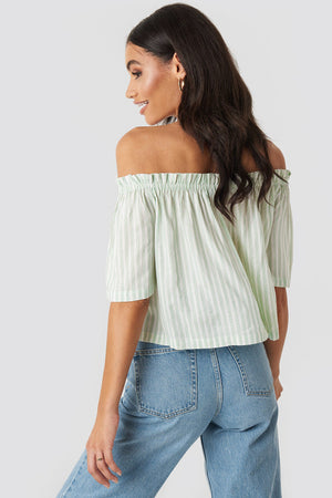 NA-KD Off Shoulder Striped Top Mint - Mojo Independent Store