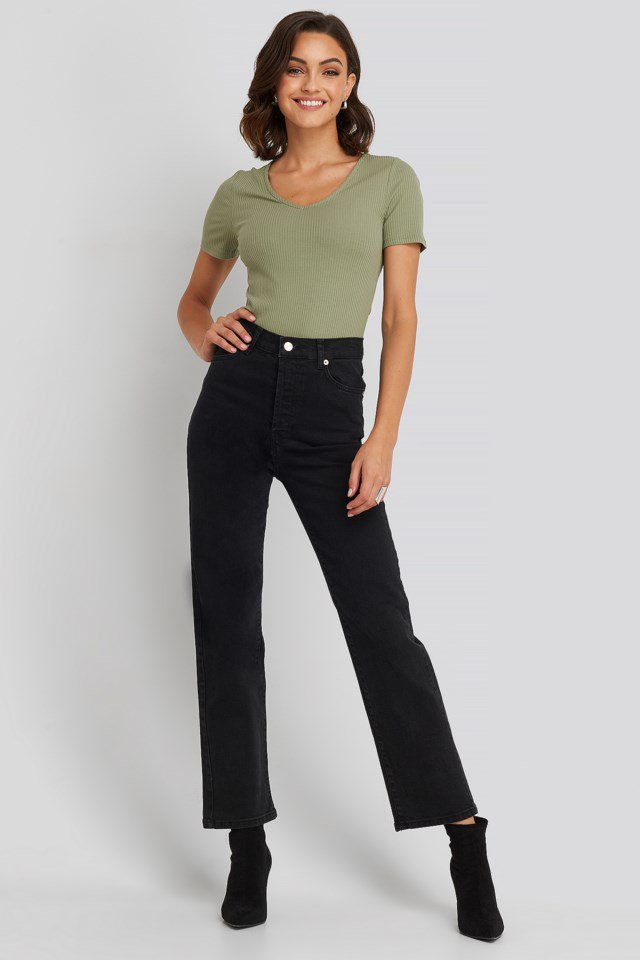 NA-KD Straight High Waist Jeans Black