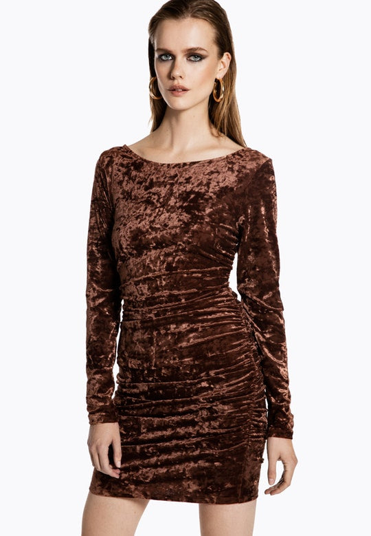 Ivyrevel Velvet Mini Dress Brown - Mojo Independent Store