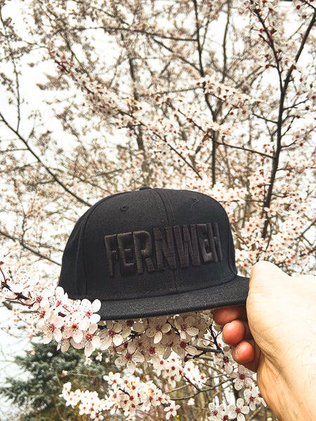 Front view Fernweh Prime black snapback hat