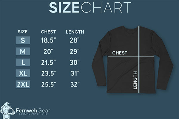 Fernweh Gear size chart unisex cotton long sleeve shirt Next Level 3601