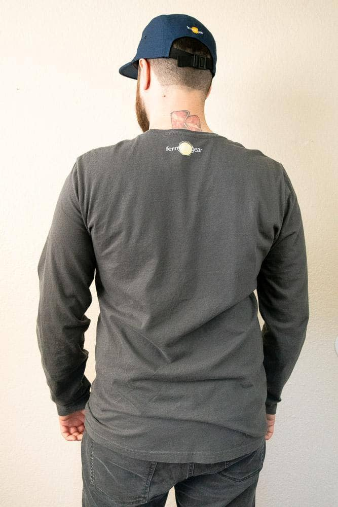 Back view Fernweh Block slate grey unisex long sleeve shirt by Fernweh Gear