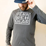 Front view Fernweh Block slate grey unisex long sleeve shirt by Fernweh Gear