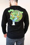 Back view Sidewinder Creek unisex mens long sleeve shirt, color Black