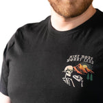 front view man wearing Hike More Skelly unisex shirt (black) - Fernweh Gear