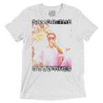 Front View 'Savor The Good Times' white speckle triblend unisex tshirt with rectangular picture of man in white button up shirt with sunglasses drinking tropical drink