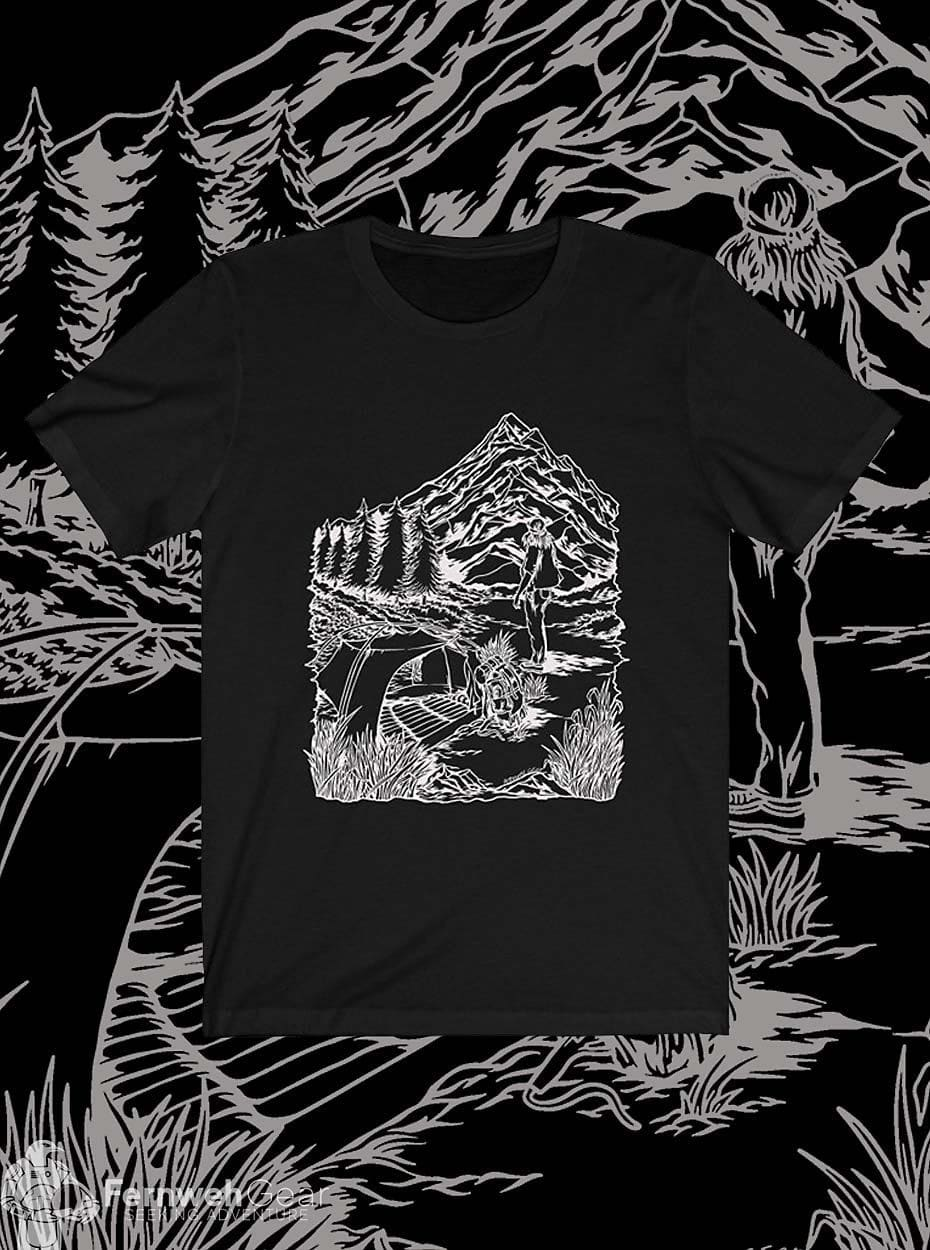 front view Cascade Solitude Stamp unisex shirt (black) - Fernweh Gear