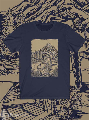front view Cascade Solitude unisex shirt (navy) - Fernweh Gear