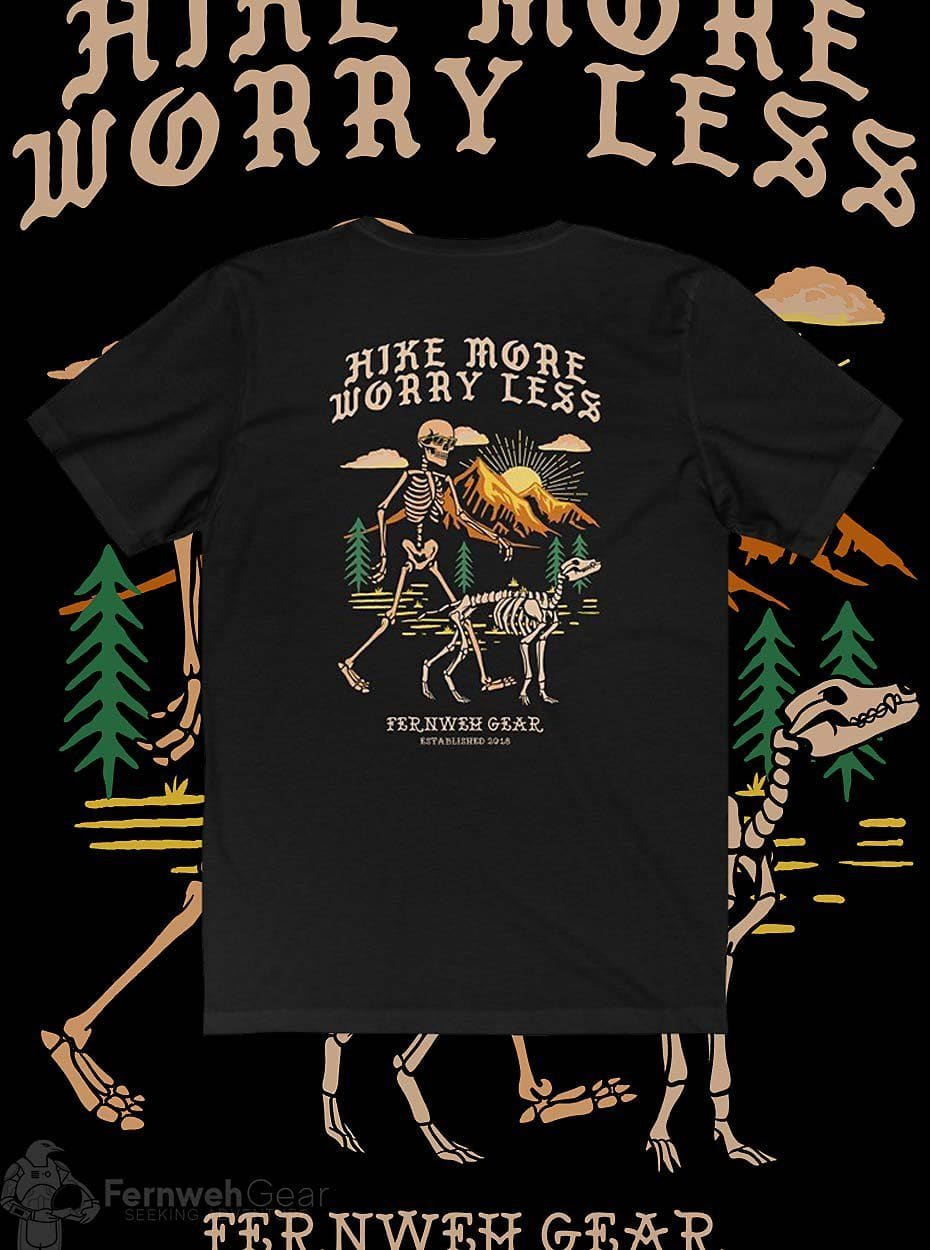 back view Hike More Skelly unisex shirt (black) - Fernweh Gear