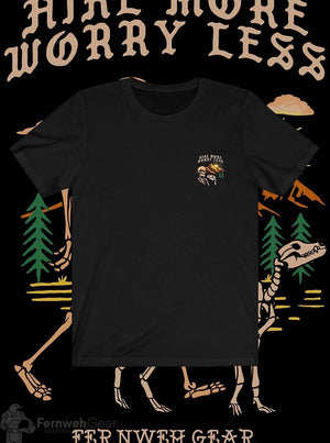 front view Hike More Skelly unisex shirt (black) - Fernweh Gear