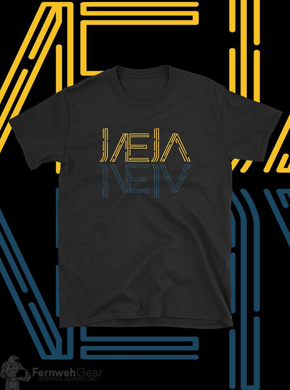 front view Jaeja Reflection unisex shirt (black) - Fernweh Gear