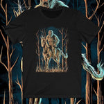 front view Midnight Encounter unisex sasquatch unicorn shirt (black) - Fernweh Gear