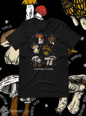 front view Mushrooms of Oregon - unisex black shirt - Fernweh Gear