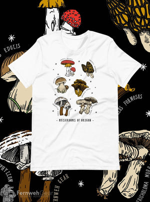 front view Mushrooms of Oregon unisex white shirt - Fernweh Gear