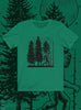 front view Night Hike Sas Stamp unisex shirt (kelly green) - Fernweh Gear