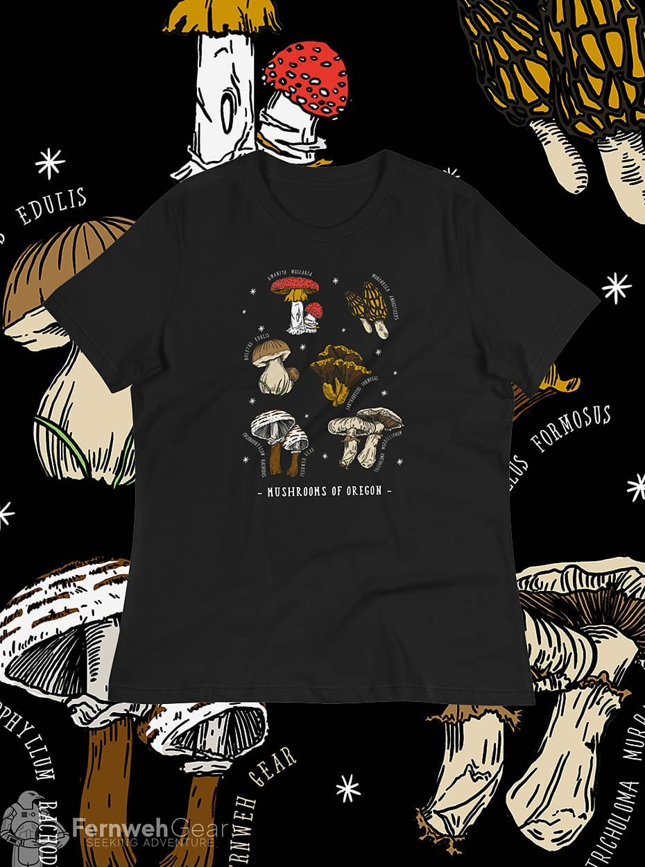 front view Mushrooms of Oregon women's shirt (black) - Fernweh Gear
