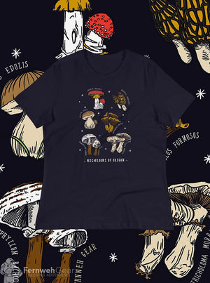 front view Mushrooms of Oregon women's shirt (navy) - Fernweh Gear