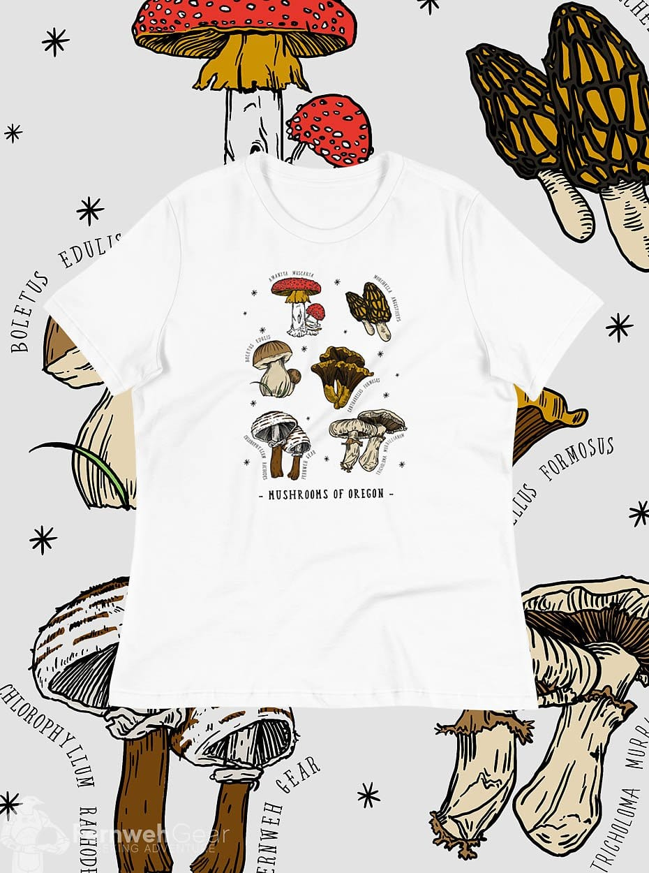 front view Mushrooms of Oregon women's shirt (white) - Fernweh Gear