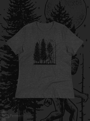 front view Night Hike Sas Stamp women's shirt (dark grey heather) - Fernweh Gear