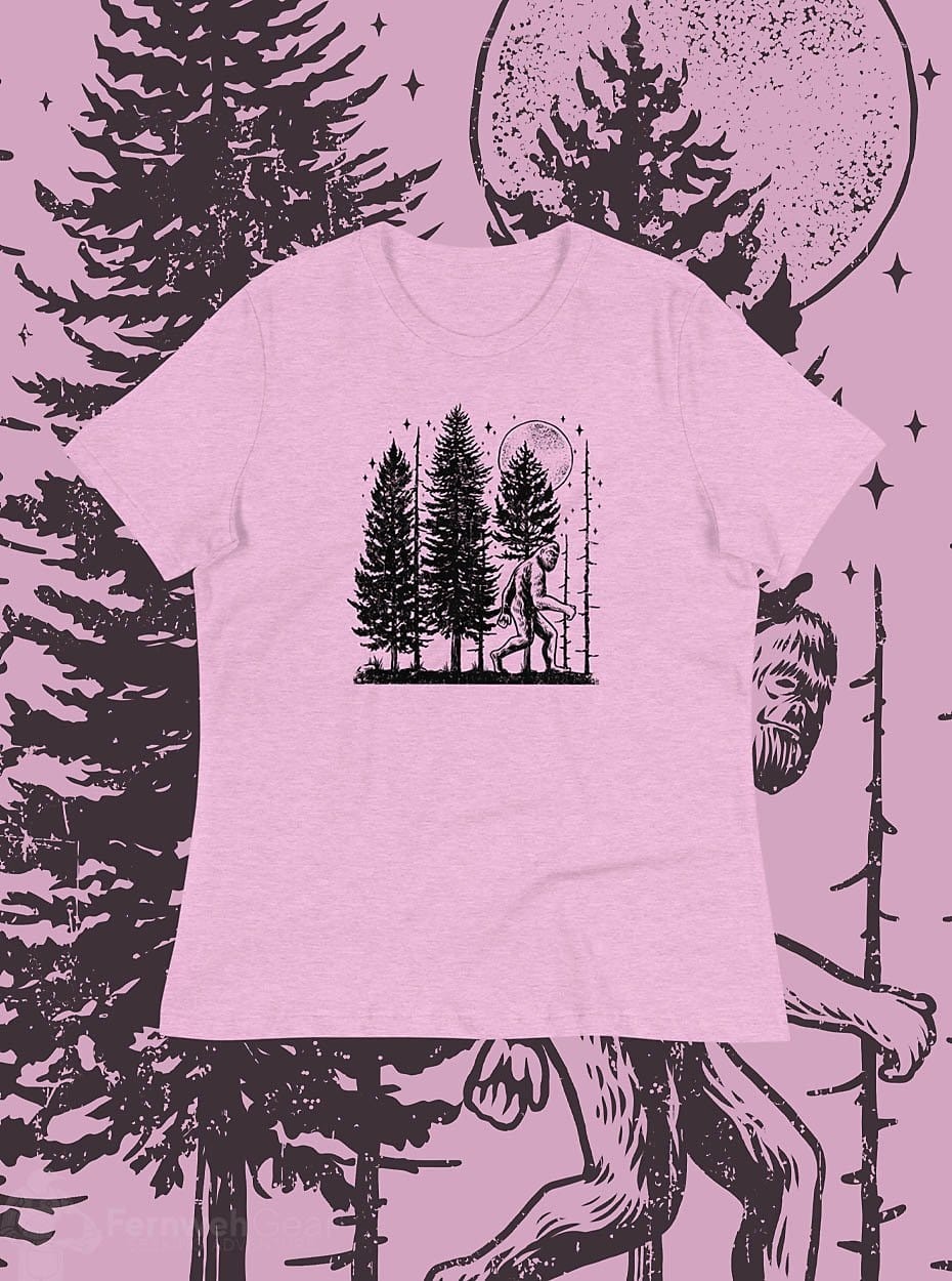 front view Night Hike Sas Stamp women's shirt (heather lilac) - Fernweh Gear