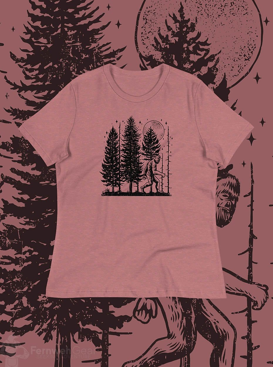 front view Night Hike Sas Stamp women's shirt (heather mauve) - Fernweh Gear