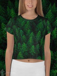 Front view woman wearing Woken Pine all-over-print crop top women's shirt - Fernweh Gear