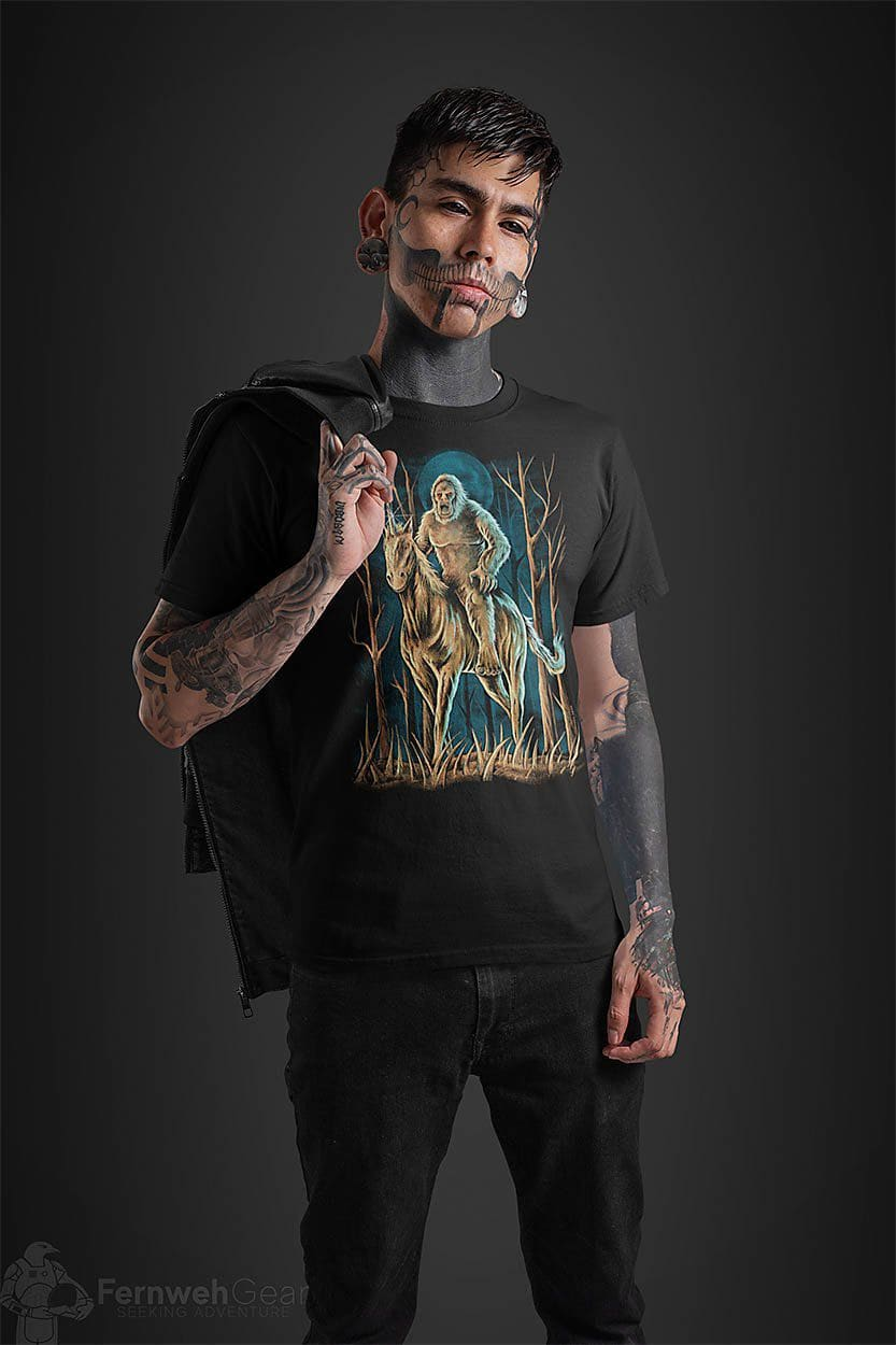 front view tattooed man wearing Midnight Encounter unisex shirt (black) - Fernweh Gear