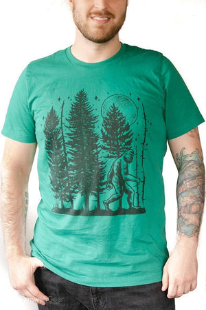 front view man wearing Night Hike Sas Stamp unisex shirt (kelly green) - Fernweh Gear