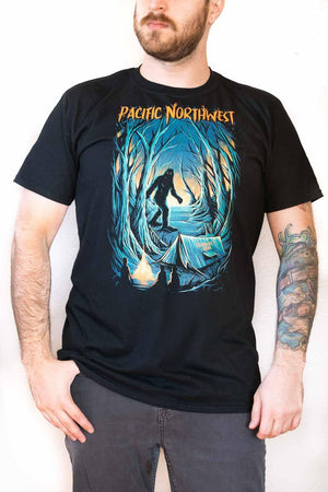 Front View Man wearing - Campfire Tales PNW - Unisex Shirt - Black -  Fernweh Gear