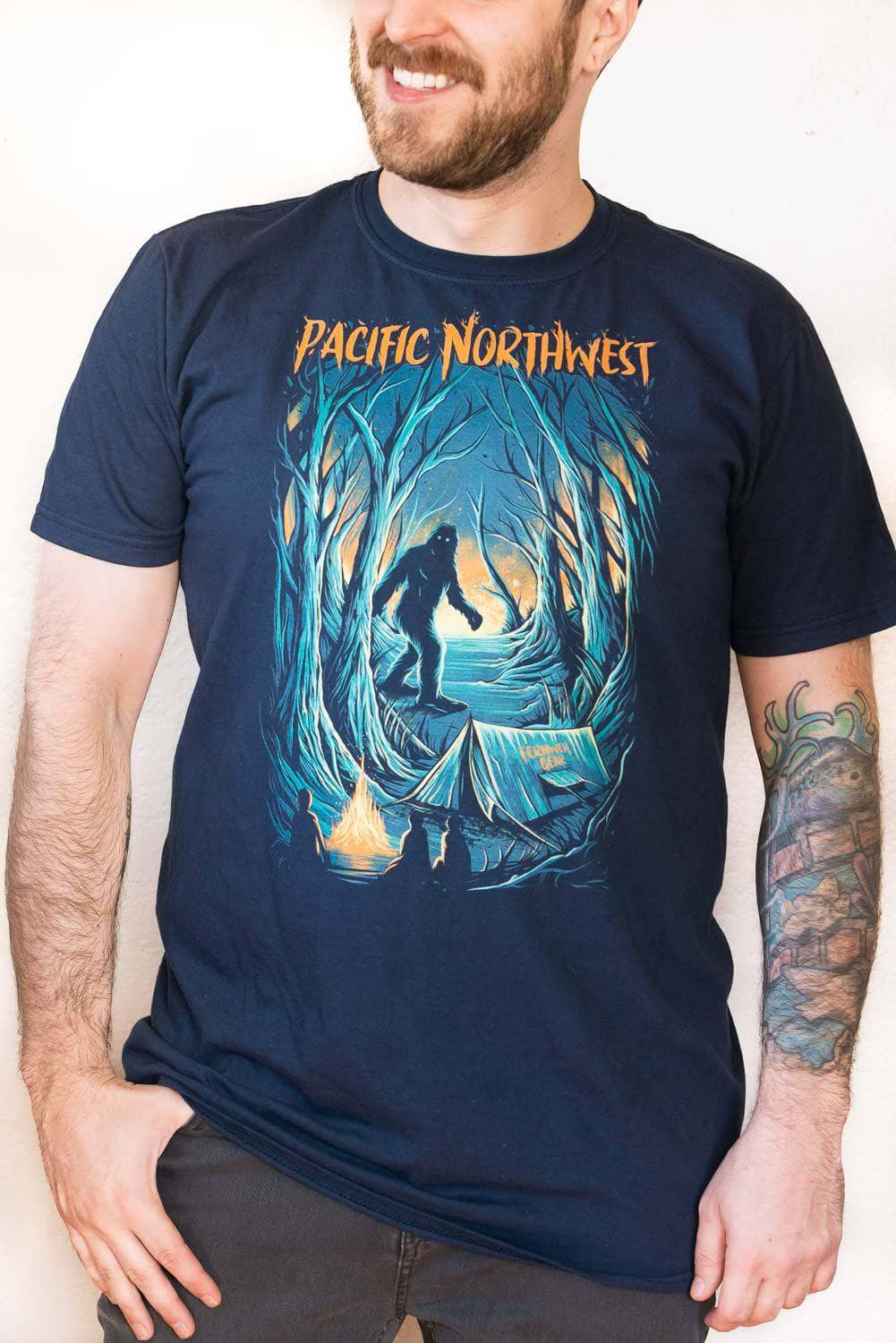 Front view Campfire Tales unisex navy short sleeve shirt